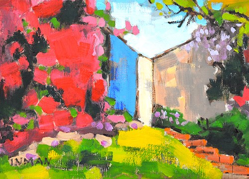 """Bougainvillea in Hillcrest"" original fine art by Kevin Inman"