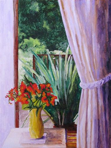 """Red Flowers, Lilac Curtains"" original fine art by Nan Johnson"