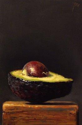 """Avocado on a Wood Block"" original fine art by Abbey Ryan"