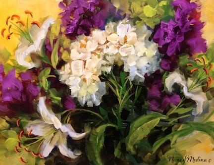 """Surrounded by Love White Lilies and a Ft. Lauderdale Workshop by Texas Flower Artist Nancy Medina"" original fine art by Nancy Medina"