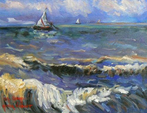 """Seascape at Saintes-Maries, after VanGogh, SOLD"" original fine art by Carol Schiff"