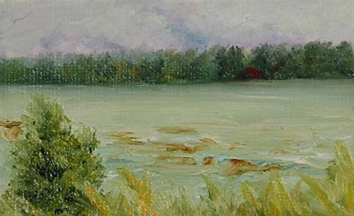 """West Wind_2.5 x 3.5 inch_oil on canvas_Seascape"" original fine art by Donna Pierce-Clark"