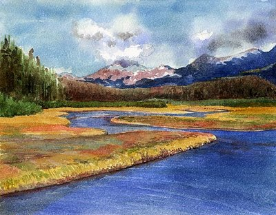"""Watercolor: Cordova Slough"" original fine art by Belinda Del Pesco"