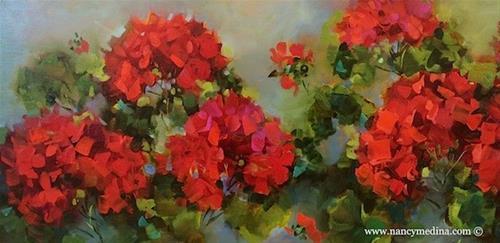 """Spring Geranium Garden and a Houston Workshop - Flower Paintings by Nancy Medina"" original fine art by Nancy Medina"