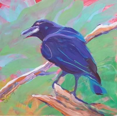"""""""Crow in the Tree 2"""" original fine art by Pam Van Londen"""