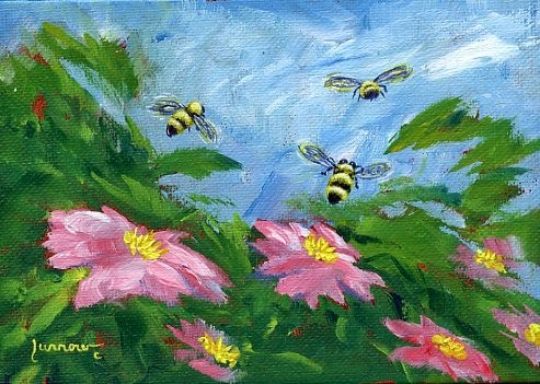 """30 Day Challenge  Pollinators"" original fine art by Sue Furrow"