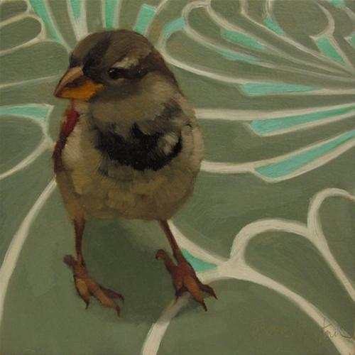 """Sparrow on Swirl small original oil painting"" original fine art by Diane Hoeptner"