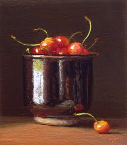 """Cup of Cherries No. 2"" original fine art by Abbey Ryan"