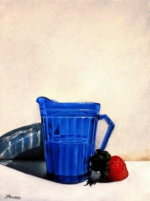 """Strawberry & Creamer"" original fine art by Jelaine Faunce"