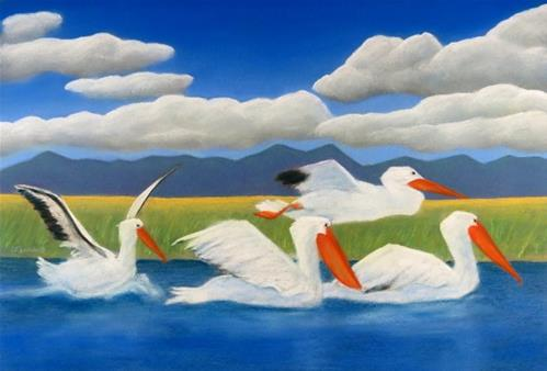 """Pelican Party"" original fine art by Carol Zirkle"