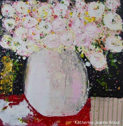 """White Cottage Chic Roses Painting No 107"" original fine art by Katie Jeanne Wood"