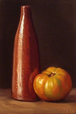 """Still Life with Tomato and Tall Bottle"" original fine art by Abbey Ryan"