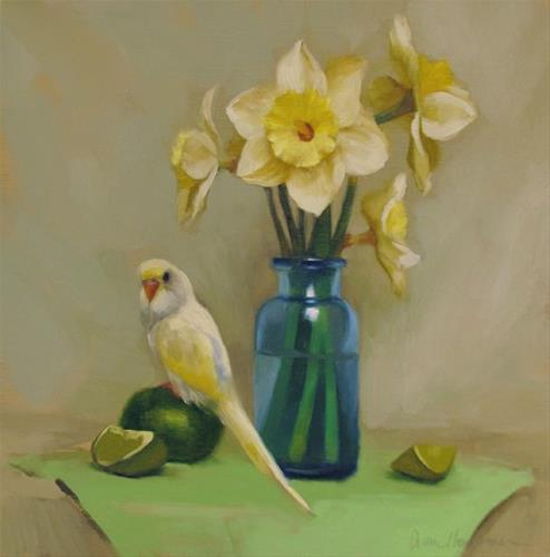 """Parakeet and Daffodils"" original fine art by Diane Hoeptner"