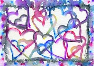 """Rainbow Hearts"" original fine art by Kali Parsons"
