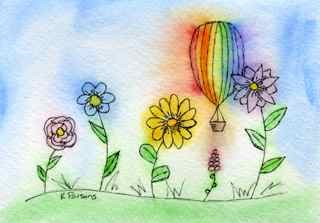 """A Balloon and his Flower Friends"" original fine art by Kali Parsons"