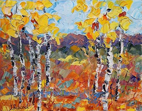 """Original Palette Knife Aspen Landscape Painting Sunlight Har"" original fine art by Judith Babcock"
