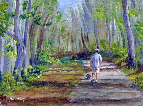 """ORIGINAL SMALL PAINTING WALKING FAT DOG"" original fine art by Sue Furrow"