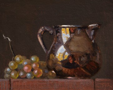"""Still life with Silver Pitcher & Muscat Grapes   (+ Guy Winch on Emotional Hygiene)"" original fine art by Abbey Ryan"