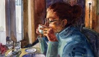 """Watercolor: First Sip"" original fine art by Belinda Del Pesco"