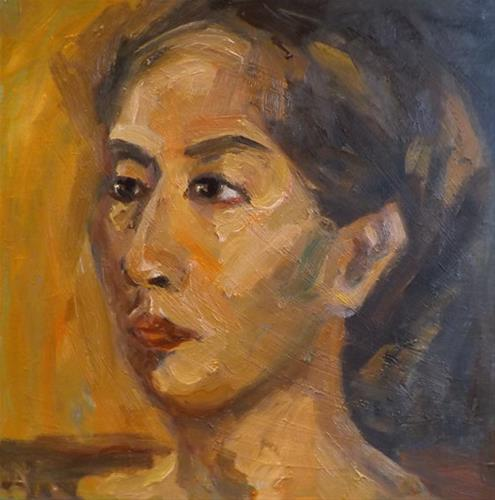 """Portrait,o16"" original fine art by Run-      Zhang Zane"