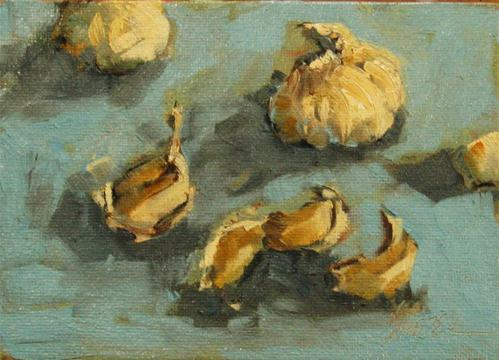 """Fragrant Garlic"" original fine art by Connie Snipes"