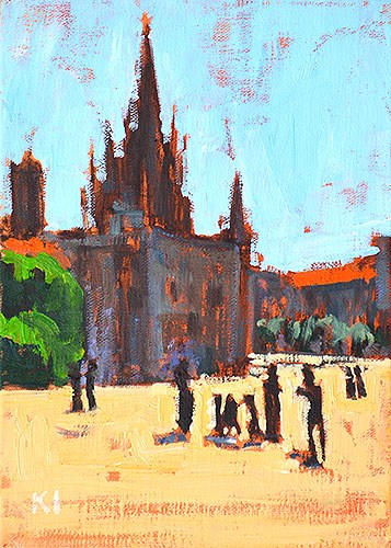 """Photo Op, Pla de la Seu"" original fine art by Kevin Inman"