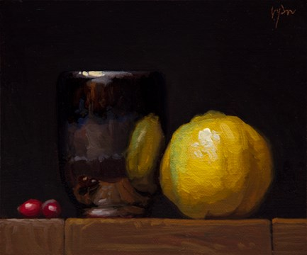 """Handmade Cup with Quince and Cranberries (+ Live Painting Demo Details)"" original fine art by Abbey Ryan"