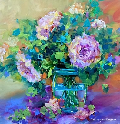 """Peach Bloomers Roses - Flower Painting Classes and Workshops by Nancy Medina Art"" original fine art by Nancy Medina"