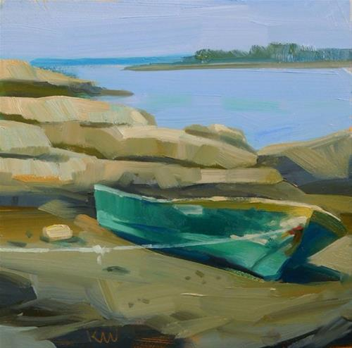 """Green Skiff, coast of Maine"" original fine art by Kathy Weber"