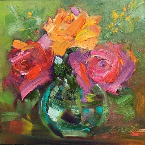 """Three Roses"" original fine art by Lisa Fu"