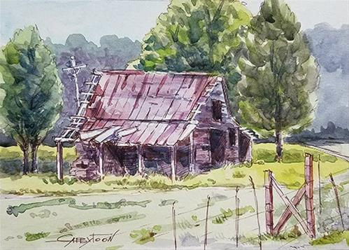 """The Old Barn in Alabama"" original fine art by Gabriella DeLamater"