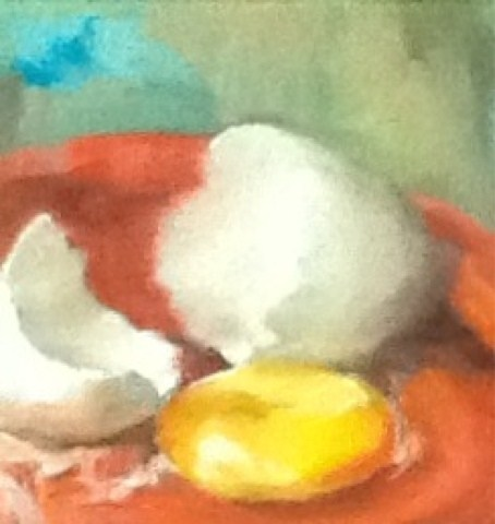 """Broken Egg Challenge, Still Life"" original fine art by Diana Delander"