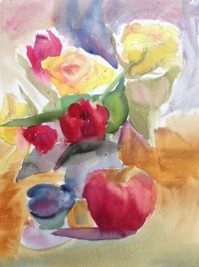 """Roses and Tulips Still Life"" original fine art by Maria Peagler"