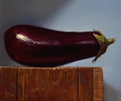 """""""Eggplant on a Wood Block"""" original fine art by Abbey Ryan"""