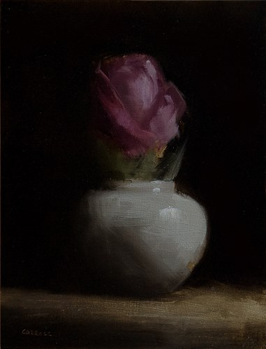 """Rose in Small Vase"" original fine art by Neil Carroll"