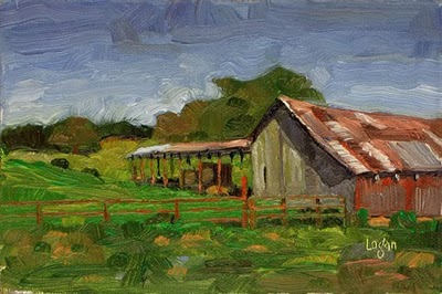 """Barn on Old Coast Highway #2"" original fine art by Raymond Logan"