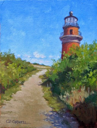 """'Lighthouse at Aquinnah' An Original Oil Painting by Claire Beadon Carnell 30 Paintings in 30 Days C"" original fine art by Claire Beadon Carnell"