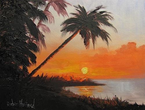 """Palm Tree at Sunset"" original fine art by Barbara Haviland"