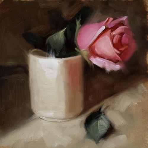 """Rose and Leaf"" original fine art by Cindy Haase"