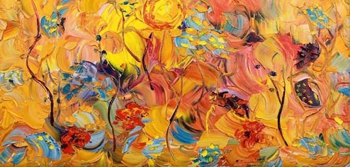 """Original Palette Knife Abstract Flower Painting Garden Harmony by Colorado Impressionism Artist Ju"" original fine art by Judith Babcock"