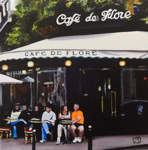 """Cafe de Flore"" original fine art by Andre Beaulieu"