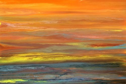 """Abstract Landscape Painting,Sunset Blazing Sky Reflected V by Colorado Contemporary Artist Kimberl"" original fine art by Kimberly Conrad"