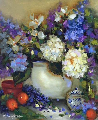 """Dreams of Summer Hydrangeas and Painting Florida Flowers - Nancy Medina Art"" original fine art by Nancy Medina"