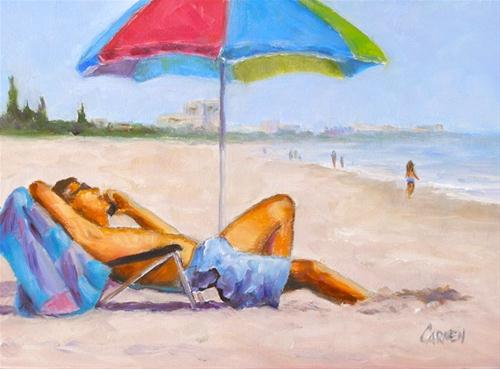"""Kicked Back, 6x8 Oil on Canvas Board"" original fine art by Carmen Beecher"