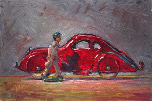 """Grey Iron Milkman walking past Wyandotte Air-Speed Coupe"" original fine art by Raymond Logan"