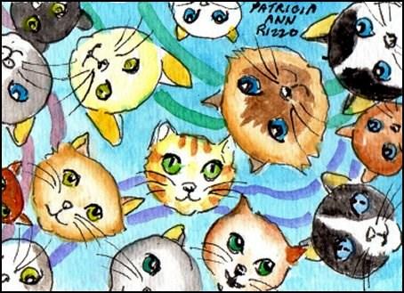 """""""Catz"""" original fine art by Patricia Ann Rizzo"""