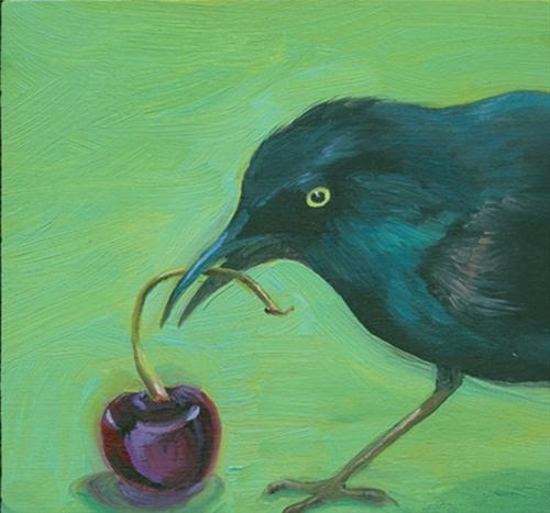 """Grackle with cherry"" original fine art by Jean Wilkey"