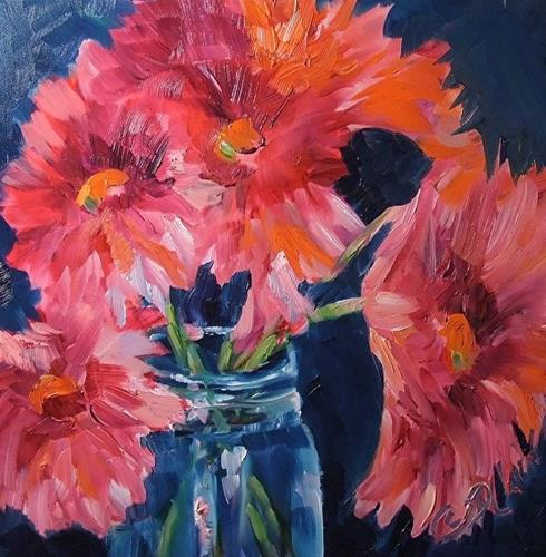 """Petal Pink, 8 x 8 Oil, Floral"" original fine art by Donna Pierce-Clark"
