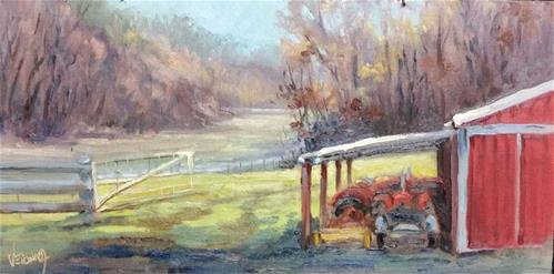"""Sunrise at the farm-en plein air"" original fine art by Veronica Brown"