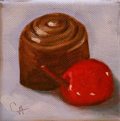 """Chocolate and Cherry"" original fine art by Claire Henning"
